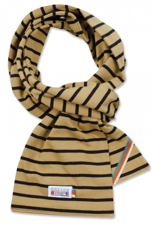 breton scarf khaki navy