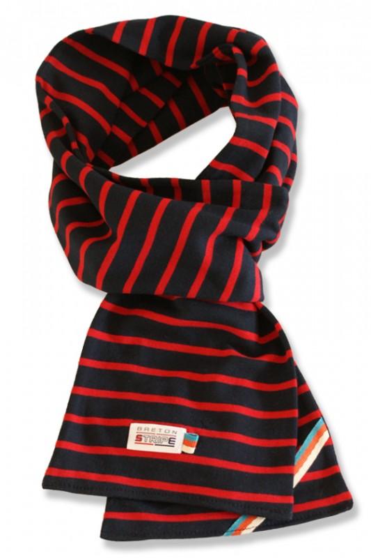 breton scarf navy red