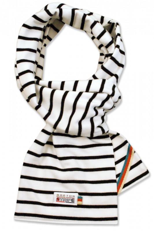 breton scarf white black