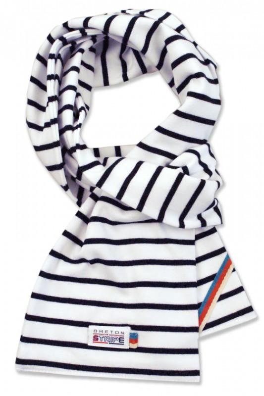 breton scarf white navy