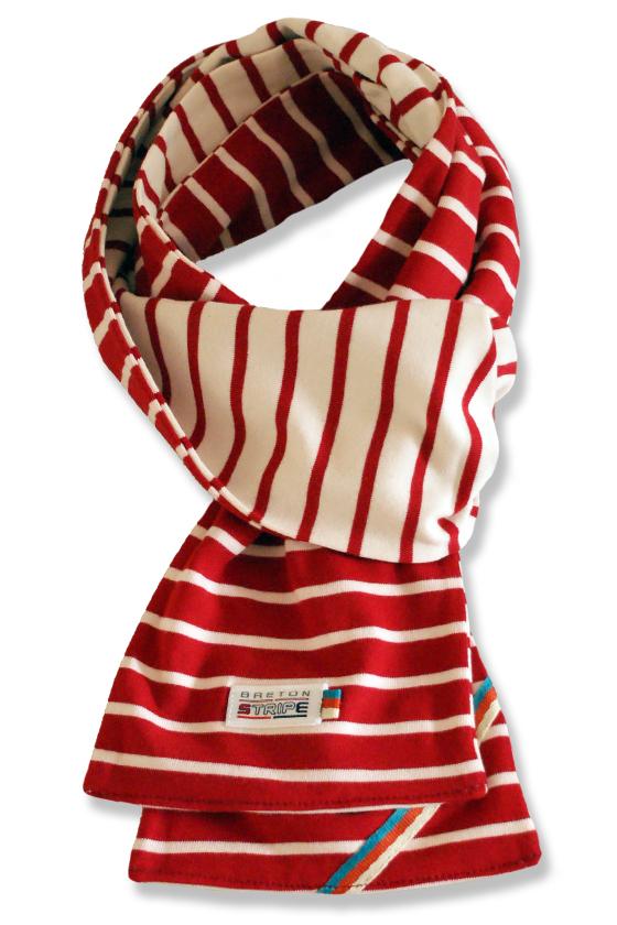 breton 2color scarf bordeaux naturel