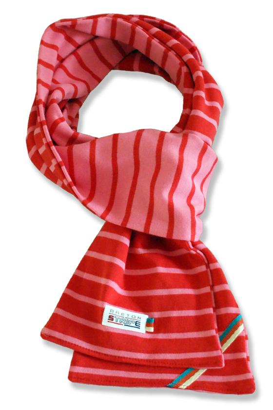breton 2color scarf fuchsia red