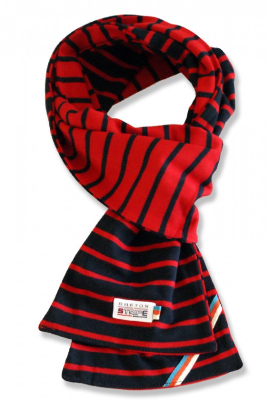 breton 2color scarf  navy red