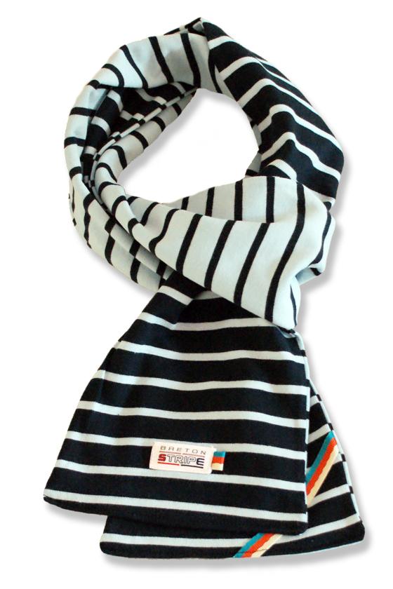 breton 2color scarf navy skyblue